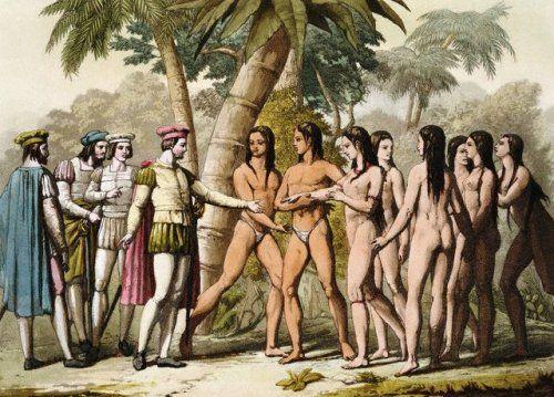 Colón recibe una india como obsequio. Ilustración: Gallo Gallina, (ca. 1820-1830)