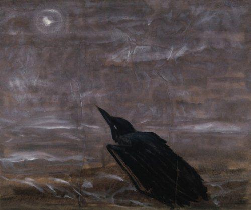 """""""Luna y cuervo loco sobre el oleaje"""", de  Morris Graves"""