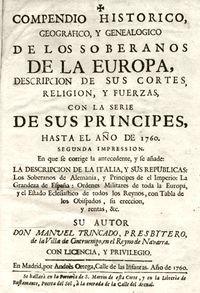 """""""Compendio histórico, geográfico y genealógico de los soberanos de la Europa"""", de Manuel Trincado"""